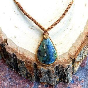 Copper macrame boho green blue gemstone necklace